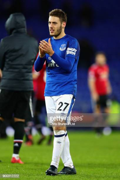Nikola Vlasic of Everton applauds the crowd after the Premier League match between Everton and Manchester United at Goodison Park on January 1 2018...