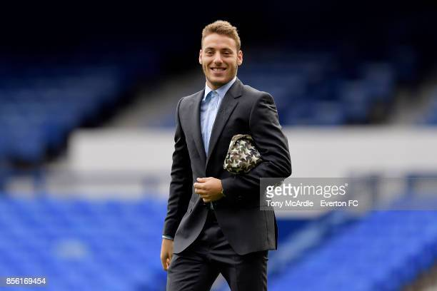 Nikola Vlasic of Everton arrives before the Premier League match between Everton and Burnley at Goodison Park on October 1 2017 in Liverpool England