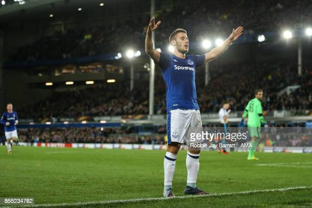 Nikola Vlasic of Everton celebrates after scoring a goal to make it 2-1 during the UEFA Europa League group E match between Everton FC and Apollon...