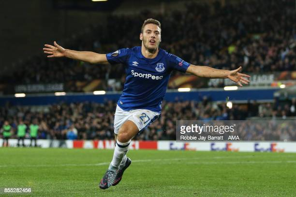 Nikola Vlasic of Everton celebrates after scoring a goal to make it 21 during the UEFA Europa League group E match between Everton FC and Apollon...