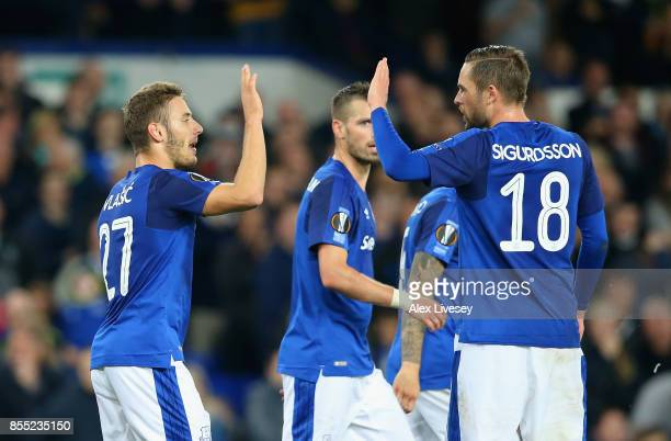 Nikola Vlasic of Everton celebrates with Gylfi Sigurdsson after scoring his sides second goal during the UEFA Europa League group E match between...