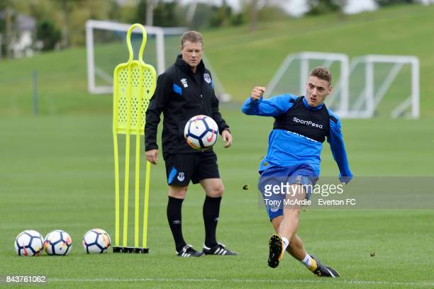Nikola Vlasic of Everton in action during the Everton FC training session at USM Finch Farm on September 7 2017 in Halewood England