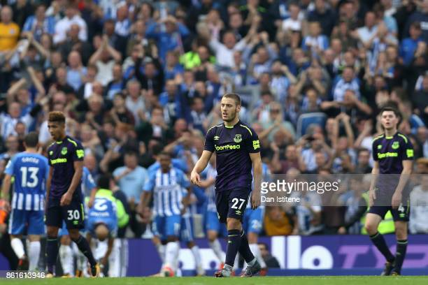 Nikola Vlasic of Everton looks dejected after Anthony Knockaert of Brighton and Hove Albion scored the first goal during the Premier League match...