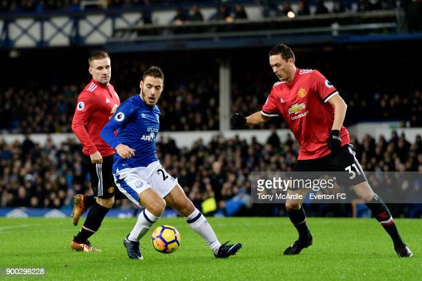 Nikola Vlasic of Evertonon the ball during the Premier League match between Everton and Manchester United at Goodison Park on January 1 2018 in...