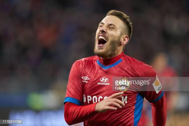 Nikola Vlasic of PFC CSKA Moscow celebrates his goal during the Russian Football League match between PFC CSKA Moscow and FC Krasnodar at Arena CSKA...