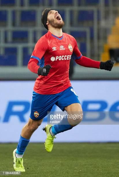 Nikola Vlasic of PFC CSKA Moscow celebrtes his goal during the Russian Football League match between PFC CSKA Moscow and FC Krylia Sovetov Samara at...