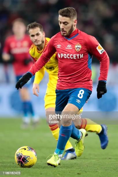 Nikola Vlasic of PFC CSKA Moscow controls the ball during the Russian Football League match between PFC CSKA Moscow and FC Arsenal Tula at Arena CSKA...