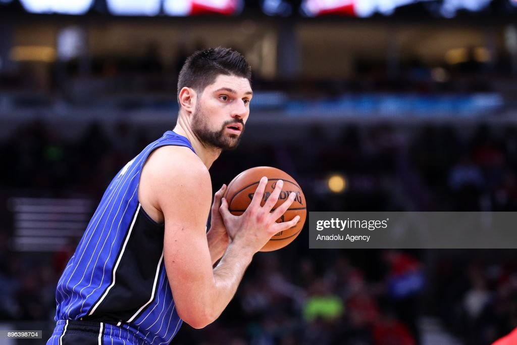 Nikola Vucevic (9) of Orlando Magic in action during an NBA basketball match between Chicago Bulls and Orlando Magic at United Center in Chicago, Illinois, United States on December 20, 2017.