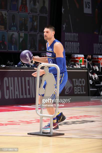 Nikola Vucevic of Team Durant dribbles during the Taco Bell Skills Challenge as part of 2021 NBA All Star Weekend on March 7, 2021 at State Farm...