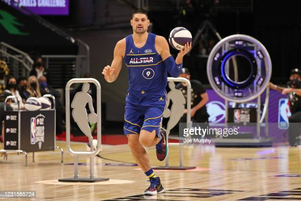 Nikola Vucevic of Team Durant dribbles the ball during the Taco Bell Skills Challenge as part of 2021 NBA All Star Weekend on March 7, 2021 at State...