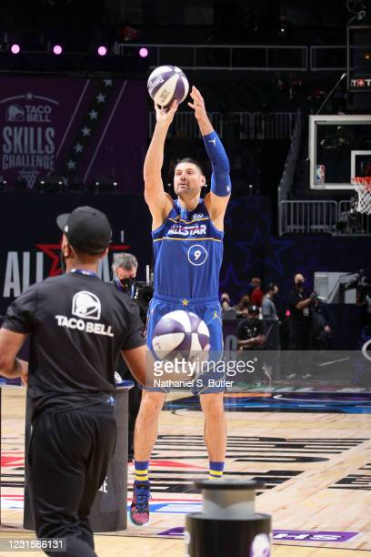 Nikola Vucevic of Team Durant shoots the ball during the Taco Bell Skills Challenge as part of 2021 NBA All Star Weekend on March 7, 2021 at State...