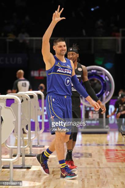 Nikola Vucevic of Team Durant waves to the crowd during the Taco Bell Skills Challenge as part of 2021 NBA All Star Weekend on March 7, 2021 at State...