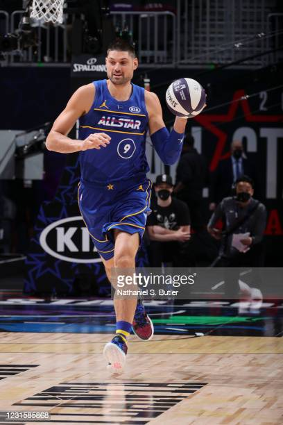 Nikola Vucevic of the Orlando Magic dribbles during the Taco Bell Skills Challenge as part of 2021 NBA All Star Weekend on March 7, 2021 at State...