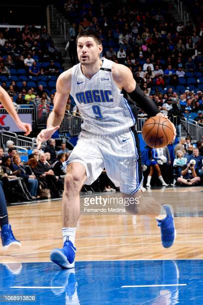 Nikola Vucevic of the Orlando Magic drives to the basket against the Denver Nuggets on December 5 2018 at Amway Center in Orlando Florida NOTE TO...
