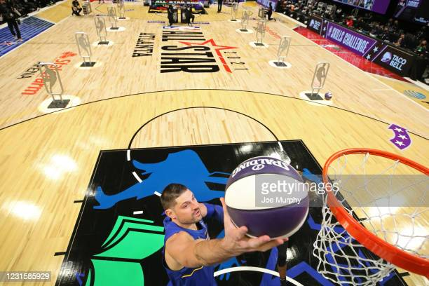 Nikola Vucevic of the Orlando Magic drives to the basket during the Taco Bell Skills Challenge as part of 2021 NBA All Star Weekend on March 7, 2021...
