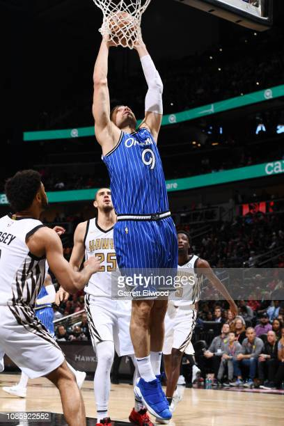 Nikola Vucevic of the Orlando Magic dunks the ball against the Atlanta Hawks on January 21 2019 at State Farm Arena in Atlanta Georgia NOTE TO USER...