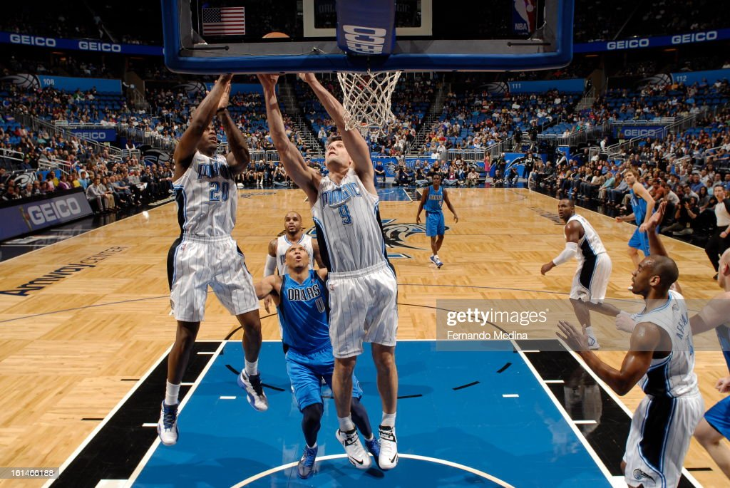 Nikola Vucevic #9 of the Orlando Magic goes up for the shot against the Dallas Mavericks during the game on January 20, 2013 at Amway Center in Orlando, Florida.