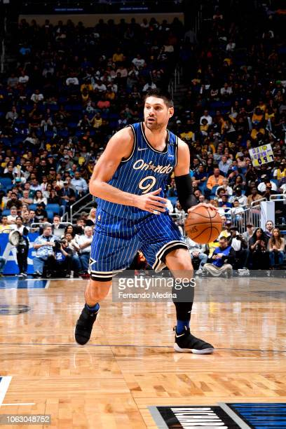 Nikola Vucevic of the Orlando Magic handles the ball against the Los Angeles Lakers on November 17 2018 at Amway Center in Orlando Florida NOTE TO...