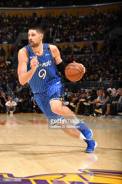Nikola Vucevic of the Orlando Magic handles the ball against the Los Angeles Lakers on November 25 2018 at STAPLES Center in Los Angeles California...