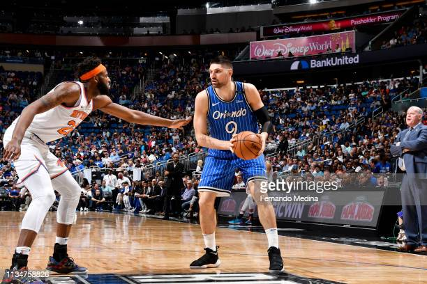 Nikola Vucevic of the Orlando Magic handles the ball against the New York Knicks on April 3 2019 at Amway Center in Orlando Florida NOTE TO USER User...