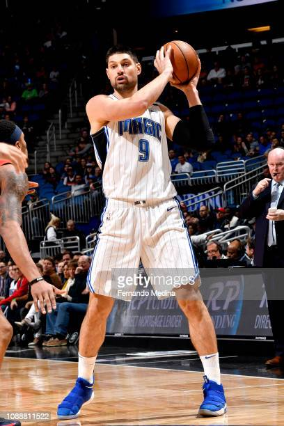 Nikola Vucevic of the Orlando Magic handles the ball against the Washington Wizards on January 25 2019 at Amway Center in Orlando Florida NOTE TO...