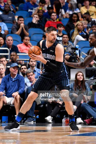 Nikola Vucevic of the Orlando Magic handles the ball against the Atlanta Hawks on March 17 2019 at Amway Center in Orlando Florida NOTE TO USER User...