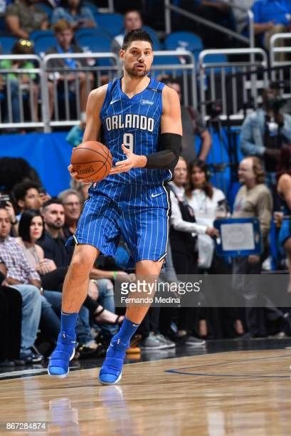 Nikola Vucevic of the Orlando Magic handles the ball against the San Antonio Spurs on October 27 2017 at Amway Center in Orlando Florida NOTE TO USER...