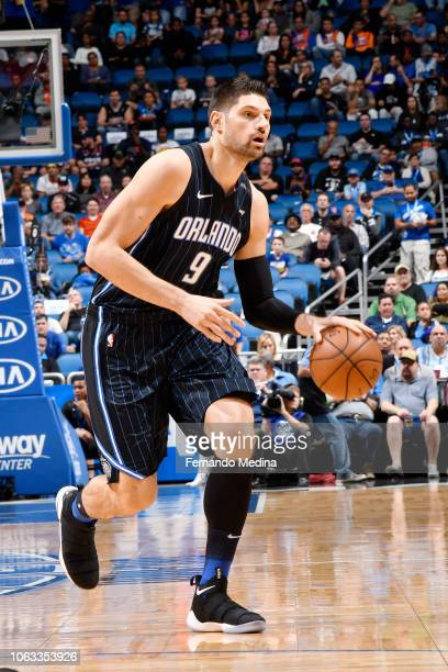 Nikola Vucevic of the Orlando Magic handles the ball during the game against the New York Knicks on November 18 2018 at Amway Center in Orlando...