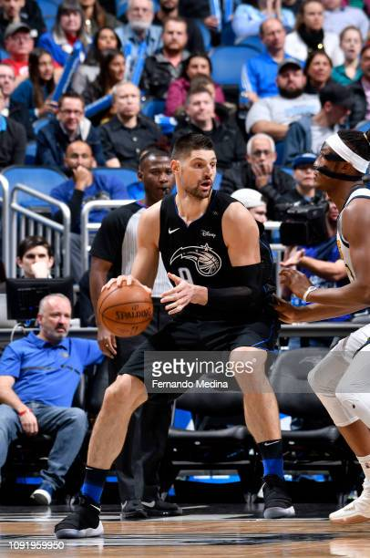 Nikola Vucevic of the Orlando Magic handles the ball during the game against the Indiana Pacers on January 31 2019 at Amway Center in Orlando Florida...