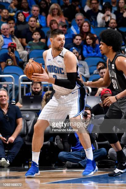 Nikola Vucevic of the Orlando Magic handles the ball during the game against the Brooklyn Nets on February 2 2019 at Amway Center in Orlando Florida...