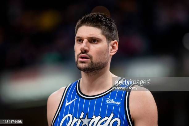 Nikola Vucevic of the Orlando Magic is seen during the game against the Indiana Pacers at Bankers Life Fieldhouse on March 30 2019 in Indianapolis...