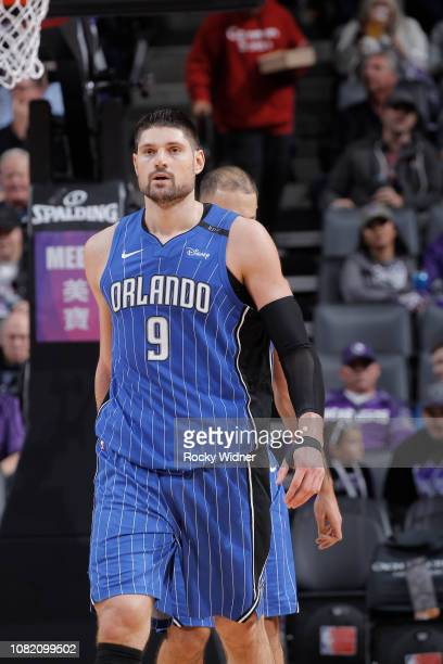 Nikola Vucevic of the Orlando Magic looks on during the game against the Sacramento Kings on January 7 2019 at Golden 1 Center in Sacramento...