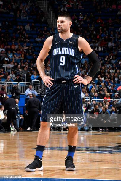 Nikola Vucevic of the Orlando Magic looks on during the game against the Oklahoma City Thunder on January 29 2019 at Amway Center in Orlando Florida...