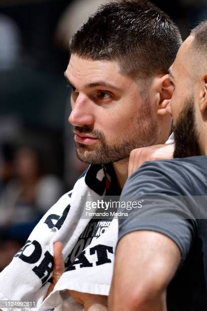 Nikola Vucevic of the Orlando Magic looks on during the game against the Charlotte Hornets on February 14 2019 at Amway Center in Orlando Florida...