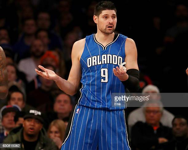 Nikola Vucevic of the Orlando Magic reacts after a foul is called against him in the first half against the New York Knicks at Madison Square Garden...