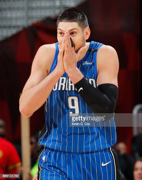 Nikola Vucevic of the Orlando Magic reacts after being charged with a foul against the Atlanta Hawks at Philips Arena on December 9 2017 in Atlanta...