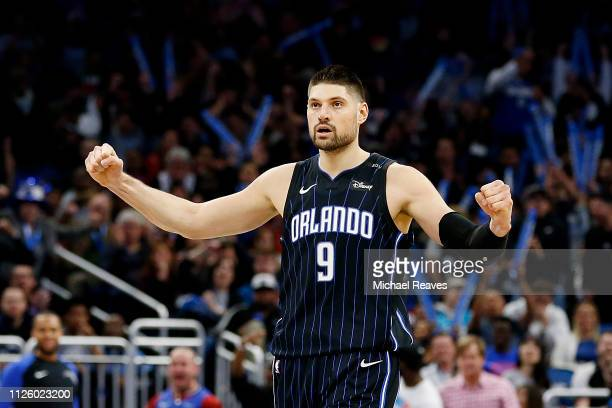 Nikola Vucevic of the Orlando Magic reacts against the Oklahoma City Thunder during the second half at Amway Center on January 29 2019 in Orlando...