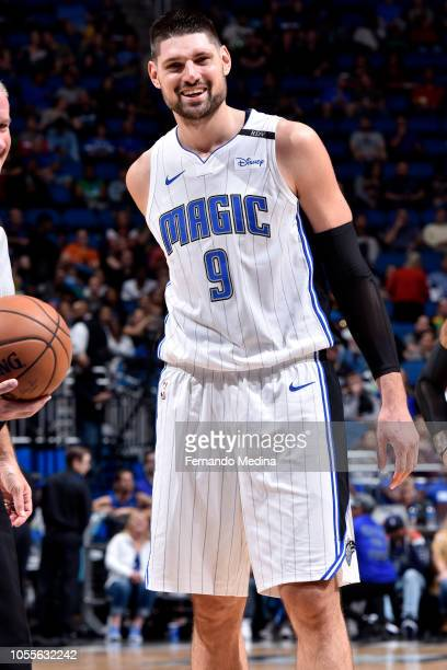 Nikola Vucevic of the Orlando Magic reacts during a game against the Sacramento Kings on October 30 2018 at Amway Center in Orlando Florida NOTE TO...