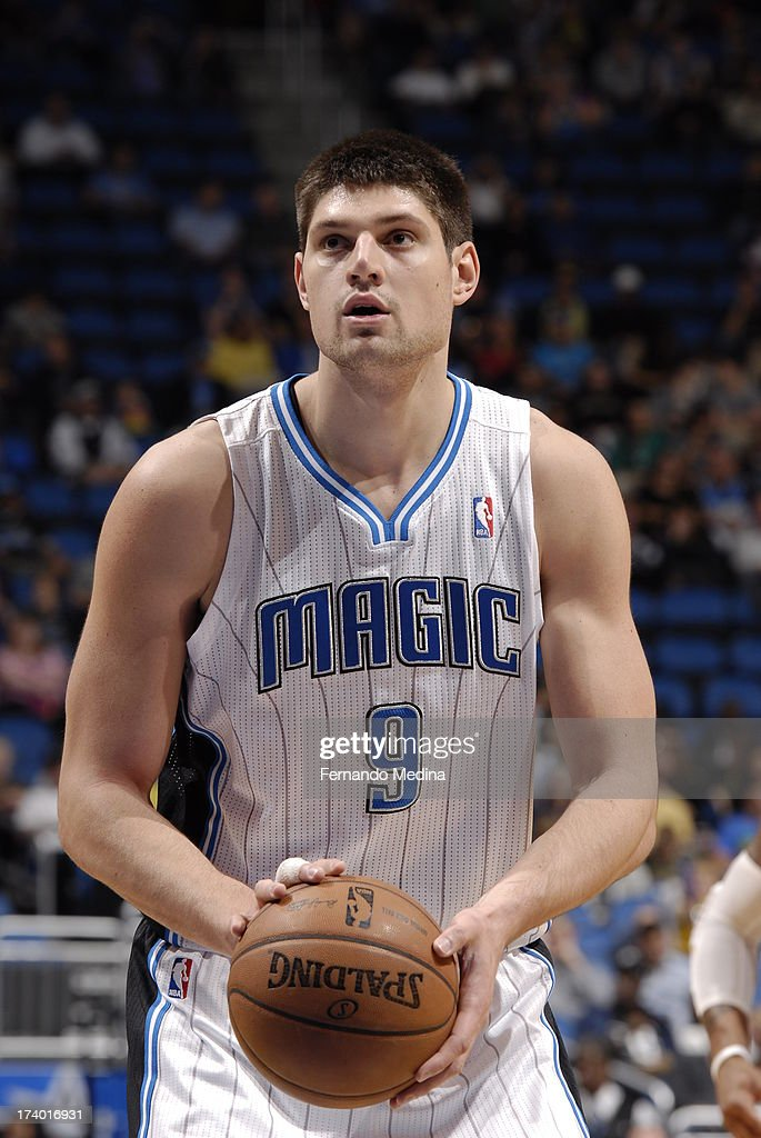 Nikola Vucevic #9 of the Orlando Magic shoots a free throw against the Charlotte Bobcats during the game on February 19, 2013 at Amway Center in Orlando, Florida.