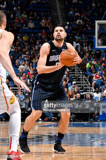 Nikola Vucevic of the Orlando Magic shoots the ball against the Atlanta Hawks on March 17 2019 at Amway Center in Orlando Florida NOTE TO USER User...
