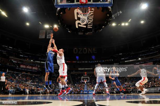 Nikola Vucevic of the Orlando Magic shoots the ball against the Toronto Raptors on March 20 2018 at Amway Center in Orlando Florida NOTE TO USER User...