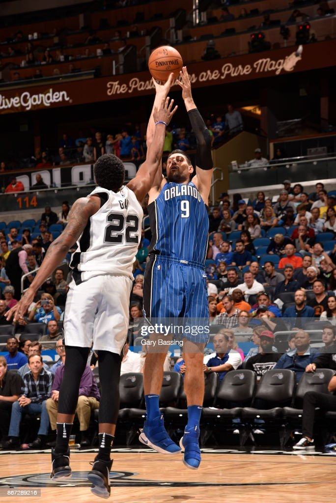 Nikola Vucevic #9 of the Orlando Magic shoots the ball against the San Antonio Spurs on October 27, 2017 at Amway Center in Orlando, Florida.
