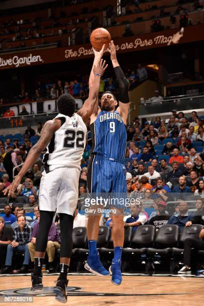 Nikola Vucevic of the Orlando Magic shoots the ball against the San Antonio Spurs on October 27 2017 at Amway Center in Orlando Florida NOTE TO USER...
