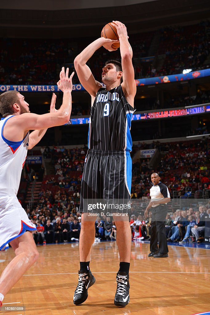 Nikola Vucevic #9 of the Orlando Magic takes a shot against the Philadelphia 76ers at the Wells Fargo Center on February 26, 2013 in Philadelphia, Pennsylvania.