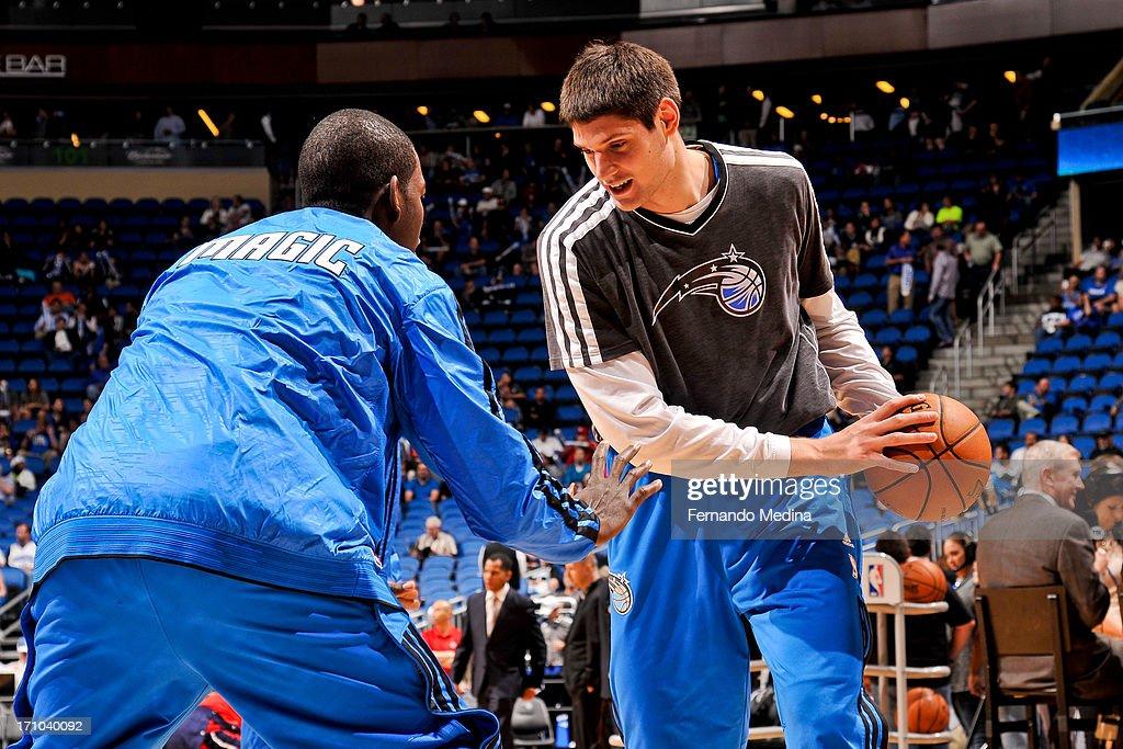 Nikola Vucevic #9 of the Orlando Magic warms up before playing the Washington Wizards on December 19, 2012 at Amway Center in Orlando, Florida.