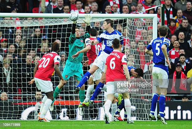 Nikola Zigic of Birmingham City heads the opening goal during the Carling Cup Final between Arsenal and Birmingham City at Wembley Stadium on...