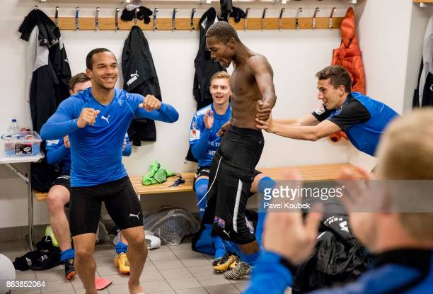 Nikolai Alho Aboubakar Keita of Halmstad BK celebrates after the victory during during the Allsvenskan match between Orebro SK and Halmstad BK at...
