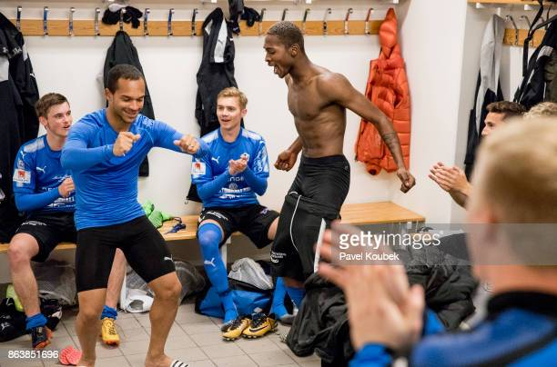 Nikolai Alho Aboubakar Keita of Halmstad BK celebrates after the victoryduring the Allsvenskan match between Orebro SK and Halmstad BK at Behrn Arena...