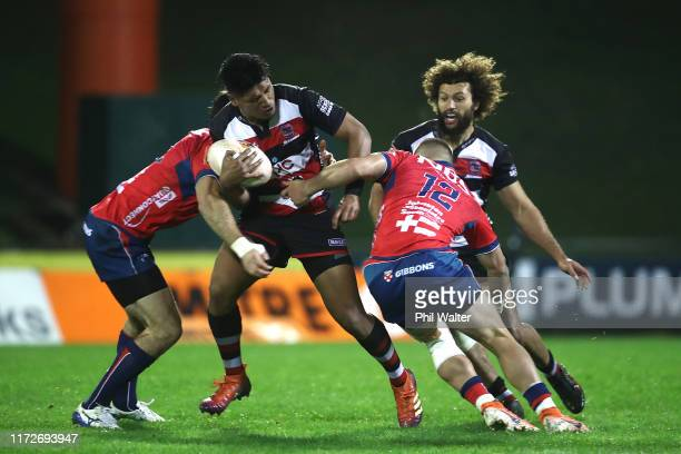 Nikolai Foliaki of Counties is tackled during the round 5 Mitre 10 Cup match between Counties Manukau and Tasman on September 06, 2019 in Pukekohe,...