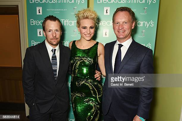 Nikolai Foster Pixie Lott and Colin Ingram attend the press night after party for 'Breakfast at Tiffany's' at the The Haymarket Hotel on July 26 2016...